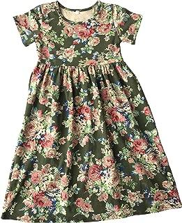 Áo quần dành cho bé gái – Girls Long Maxi Dress,Kids Empire Waist Floral Print Loose Causal Short Sleeve Dresses