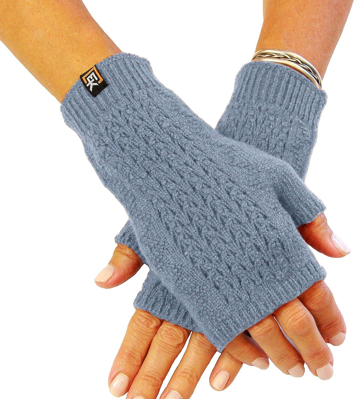 Mesh Knit Fingerless Mittens, Superfine Italian Merino Wool, Women's