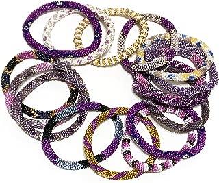 Handmade Crochet Glass Seed Bead Nepal Boho Bracelet - Wholesale Purple Scheme