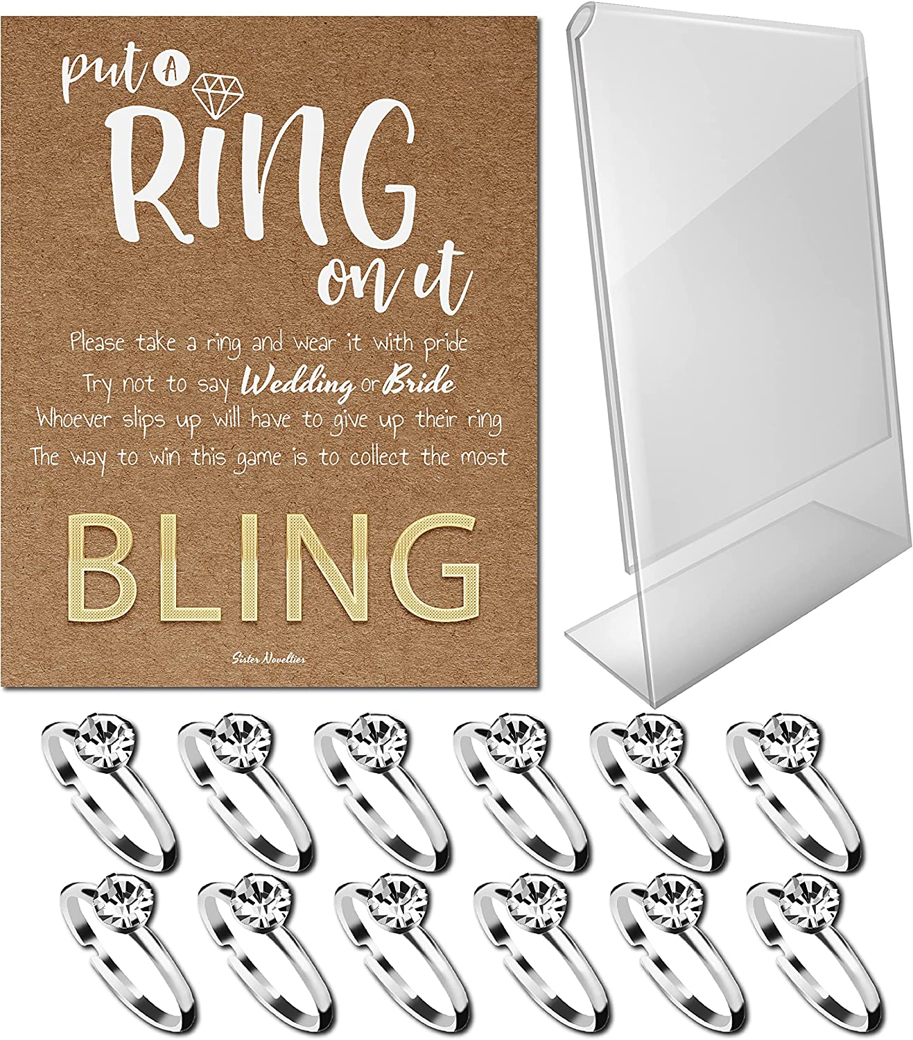 Bridal Shower Games - Put a Ring on It Bridal Shower Game with Fake Rings, Bridal Shower Decor, Bridal Shower Decorations, Bridal Shower Games for Guests (Craft - Silver 12 Count)