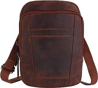 PICCO MASSIMO Genuine Leather Men/Women Sling Bag | 3 Zipped Pockets | 1 Open Pocket Sleeves | Zip Closure | Adjustable Co...