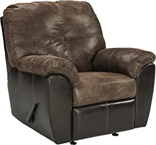 Signature Design by Ashley - Gregale Weathered Faux Leather Contemporary Manual Rocker Recliner Chair, Coffee Brown