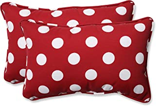 Pillow Perfect Decorative Polka Dot Toss Pillow, Rectangle, Red/White