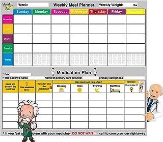 Weekly Meal Planner and Medication Plan, Medicine Organizer - Dry Erase Board – Refrigerator Calendar Tracks Water, Health... photo