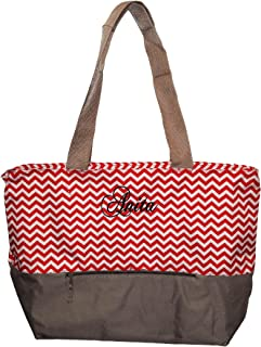 XL Beach Tote Chevron Print Weekender Bag with Mesh Webbed Handles and Outer Zippered PocketCan Be Personalized (Personalized, Red)