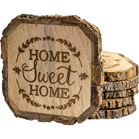 Just married,Kitchen decor,Drinks coasters Housewarming Home sweet home coasters,Family coasters,Wooden coasters,Wedding gift Home
