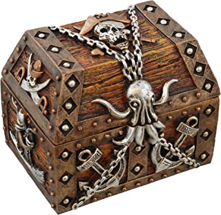 Old River Outdoors Pirate Chest Octopus/Skull & Crossbones Trinket Storage Mini Jewelry Box with Anchor, Chain, Sword and Ship Accents