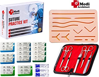 Suture Practice Kit for Medical Student Suture Training, include Upgrade Suture Pad with 14 Pre-cut Wounds, Suture Tools, Suture thread & needle (Complete Kit)
