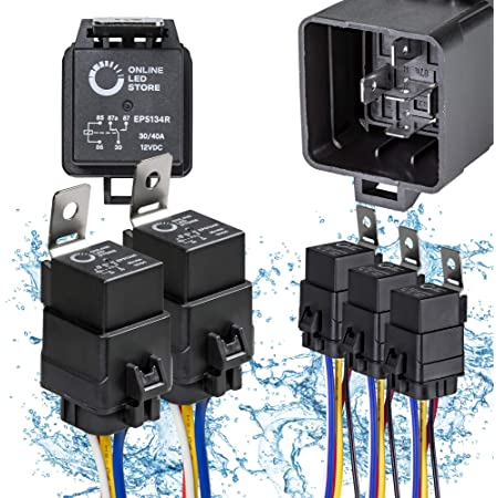 ONLINE LED STORE 5 Pack 5-Pin 12V Bosch Style Waterproof Relay Kit [Harness Socket] [12 AWG Hot Wires] [SPDT] [30/40 Amp] 12 Volt Automotive Marine Relays for Boats Auto Fan Cars