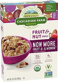 Cascadian Farm Organic Fruit and Nut Granola Whole Grain Oats, 13.5 oz, Pack of 6