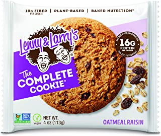 Lenny & Larry's The Complete Cookie, Oatmeal Raisin, Soft Baked, 16g Plant Protein, Vegan, Non-GMO, 4 Ounce Cookie (Pack of 12)