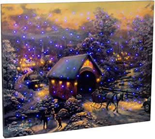 Thomas Kinkade Manual Woodworkers & Weavers 93309 Canvas Winter Evening Memories Fiber Optic With Remote - 20 x 16 - August