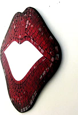 Lips Mirror Wall Art Hanging Decor Kissing Red Lips Mosaic Glass - LARGE SIZE, OMA