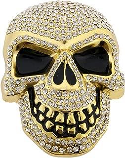 Skull Belt Buckle Skeleton Crown Gold Rhinestones