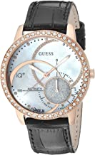 GUESS Women's Stainless Steel Connect Fitness Tracker Leather Watch, Color: Black (Model: C2001L3)