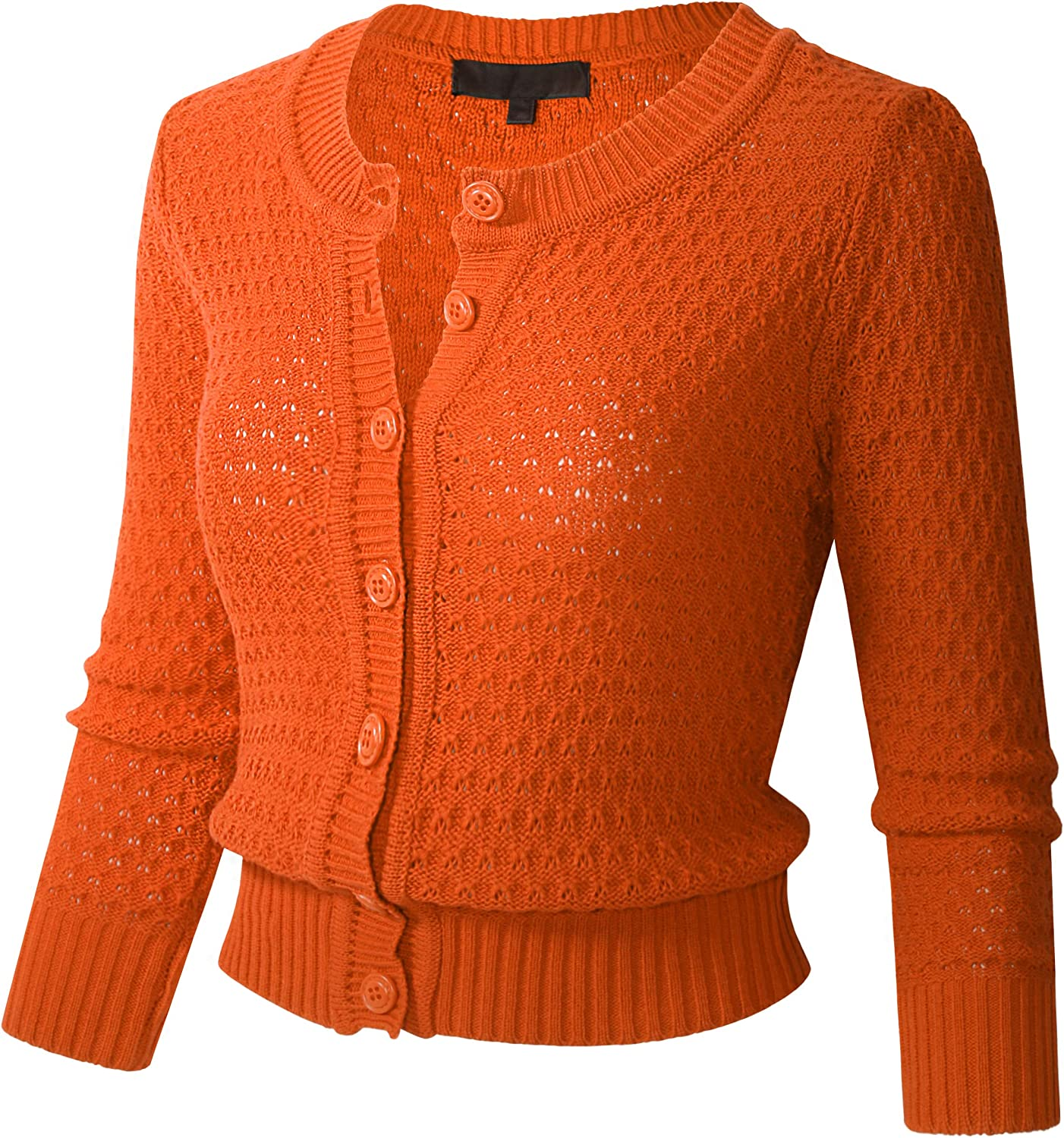 Womens Button Down 3/4 Sleeve Cropped Knit Cardigan Crochet Sweater (S-3XL)