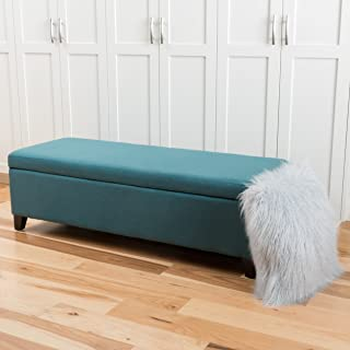 """Christopher Knight Home Living Charlotte Dark Teal Fabric Storage Ottoman, Dimensions: 19.25""""D x 50.75""""W x 16.00""""H"""