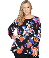 Vince Camuto Specialty Size - Plus Size Long Sleeve Floral Rendezvous High-Low Hem Blouse