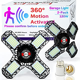 LED Garage Lights Motion Sense, Inscrok 2 Pack 120W 5 Panel Deformable Light with E22 - B27 Adaptor, 6500K Shop Light for ...