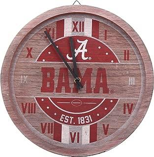 FOCO NCAA Alabama Crimson Tide Team Logo Wood Barrel Wall ClockTeam Logo Wood Barrel Wall Clock, Team Color, One Size