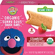 Earth's Best Organic Sesame Street Sunny Day Toddler Snack Bars with Cereal Crust, Strawberries, (8 Count of 0.67 oz Bars)...