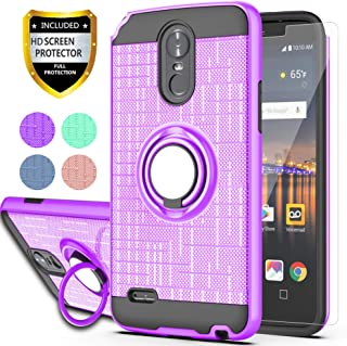 LG Stylo 3 / LG Stylus 3 / LG Stylo 3 Plus Case with HD Screen Protector,Ymhxcy 360 Degree Rotating Ring & Bracket Rubber Dual Layer Shock Bumper Resistant Back Cover for LG LS777-ZH Purple