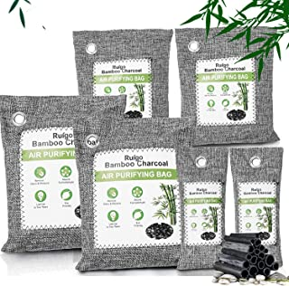Ruigo Bamboo Charcoal Bags-Air Purifying Odor-Absorber - Activated Deodorizer 6 Pack Home Smell Eliminator Odor Remover Na...
