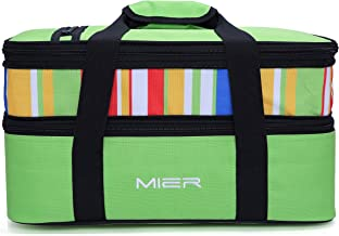 MIER Insulated Double Casserole Carrier Thermal Lunch Tote for Potluck Parties, Picnic, Beach, Fits 9 x 13 Inches Casserole Dish, Expandable, Green