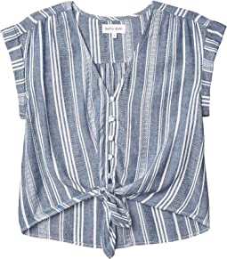 Shirred Cap Sleeve Tie Front Top