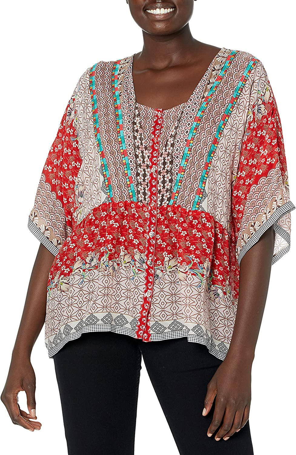 Johnny Was Women's Printed Flowy Button Down Blouse