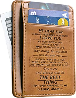 Slim Wallet Cowhide wallet RFID Front Pocket Wallet Minimalist Wallets Gift for son from Mom