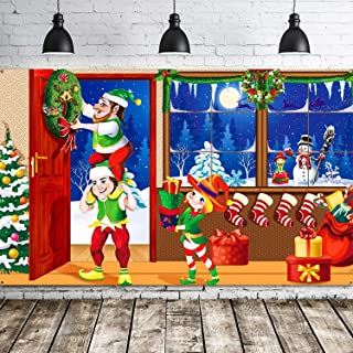 Merry Christmas Backdrop Scene Setters Banner Welcome Winter Snow Decorative Xmas Background for Wall Decoration Christmas...