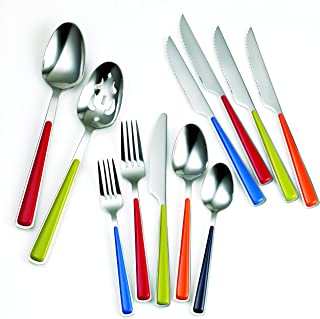 Fiesta Merengue 50 Piece Flatware Set with Steak Knives, Silver