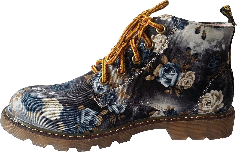 Fashciaga Women's Floral Canvas Boot
