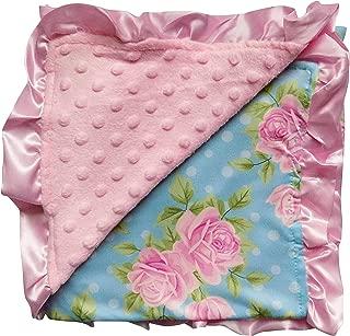 So Sydney Reversible Soft Textured Minky Dot Baby Infant Toddler Blanket with Satin Trim