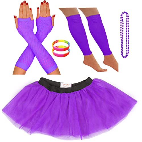 37100abc0 REDSTAR FANCY DRESS Neon Tutu Skirt Leg Warmers Fishnet Gloves Necklace  Beads and Neon Wrist Beads
