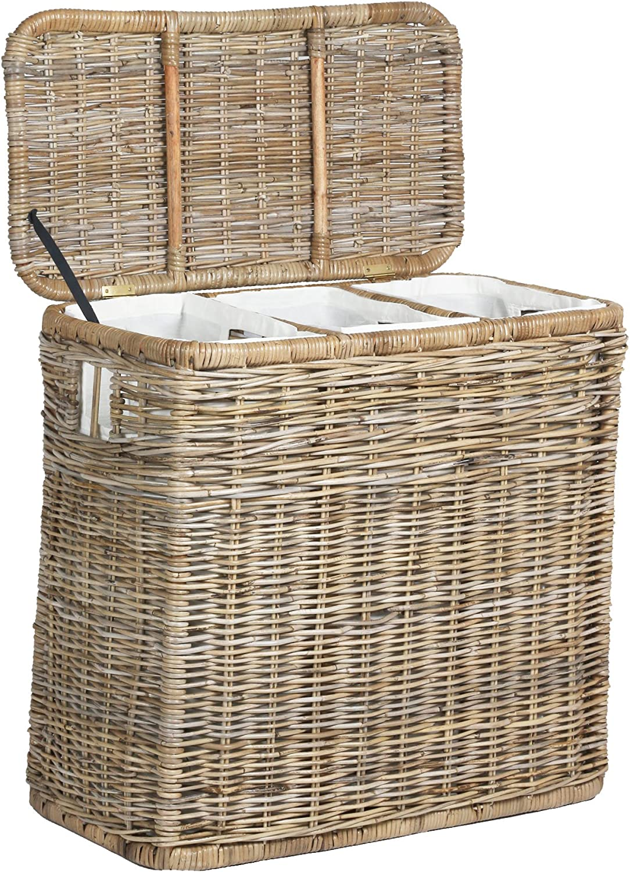 Amazon Com The Basket Lady 3 Compartment Wicker Laundry Sorter Hamper 30 In L X 15 In W X 28 In H Serene Grey Home Improvement