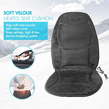 velour Car Seat Cover Cushion With Lumbar Support  black
