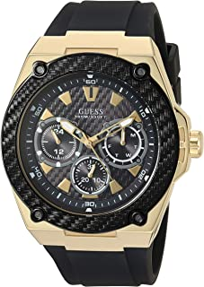 GUESS Comfortable Black Stain Resistant Silicone Watch with Gold-Tone Day, Date + 24 Hour Military/Int'l Time. Color: Black (Model: U1049G5)