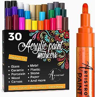 Artistro marqueur Acrylique stylos acryliques - 30 Couleurs - Marqueurs Peinture Acrylique - Feutre Acrylique Pointe Large...
