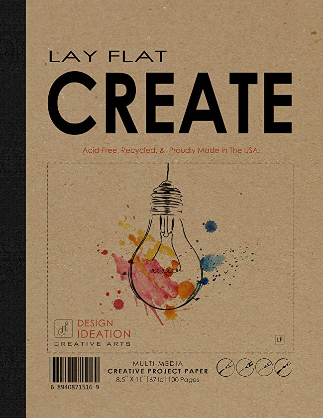 LAY FLAT : Premium Paper Multi-Media Creative Project Book for Pencil, Ink, Marker, Charcoal and Watercolor Paints. Great for Art, Design and Education. (8.5