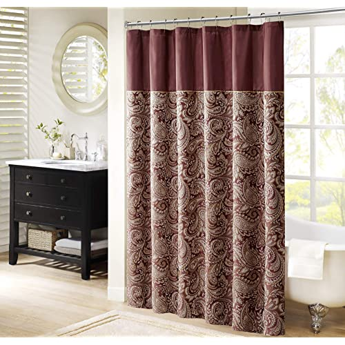 Meghan Circles Chocolate Brown Red Paisley Flocking Fabric Shower Curtain 70x72/""