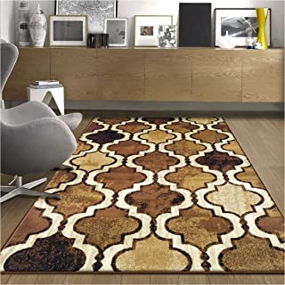 Superior Modern Viking Collection Area Rug, 10mm Pile Height with Jute Backing, Chic Textured Geometric Trellis Pattern, Anti-Static, Water-Repellent Rugs - Brown, 5' x 8' Rug