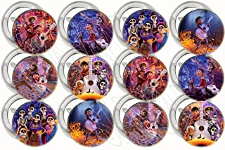 """Coco Movie Buttons, Party Favors Supplies Decorations Collectible Metal Pinback Buttons Pins, Large 2.25"""" -12 pcs, Dia de Los Muertos, Day of The Dead"""