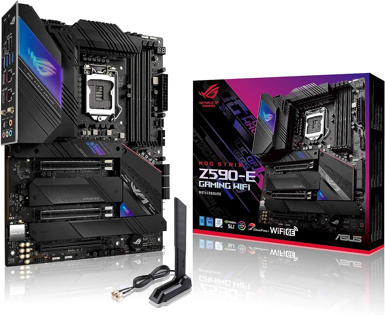 ROG Strix Z590-E Gaming WiFi 6E LGA 1200(Intel 11th/10th Gen) ATX Gaming Motherboard (PCIe 4.0, 14+2 Power Stages, DDR4 5333+, Dual Intel 2.5 Gb LAN,Thunderbolt 4, 4xM.2/NVMe SSD and Aura RGB)