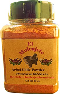 Arbol Chile Powder 10 oz El Molcajete Brand for Sauces, Salsa, Pasta, Chili, Meat, Pizza, Potatoes, Vegetables, Soups, Stews , Chicken and BBQ.