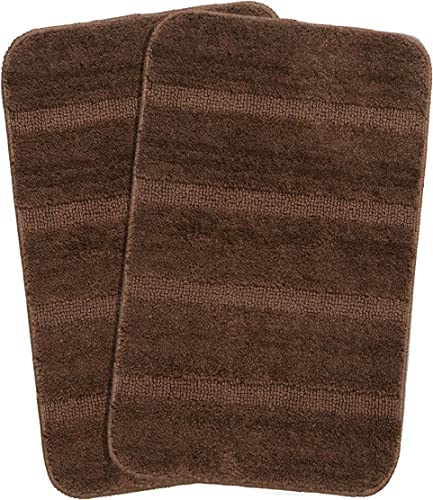 Saral Home Brown Soft Microfiber Anti Skid Bath Mat Pack of 2 35x50 cm
