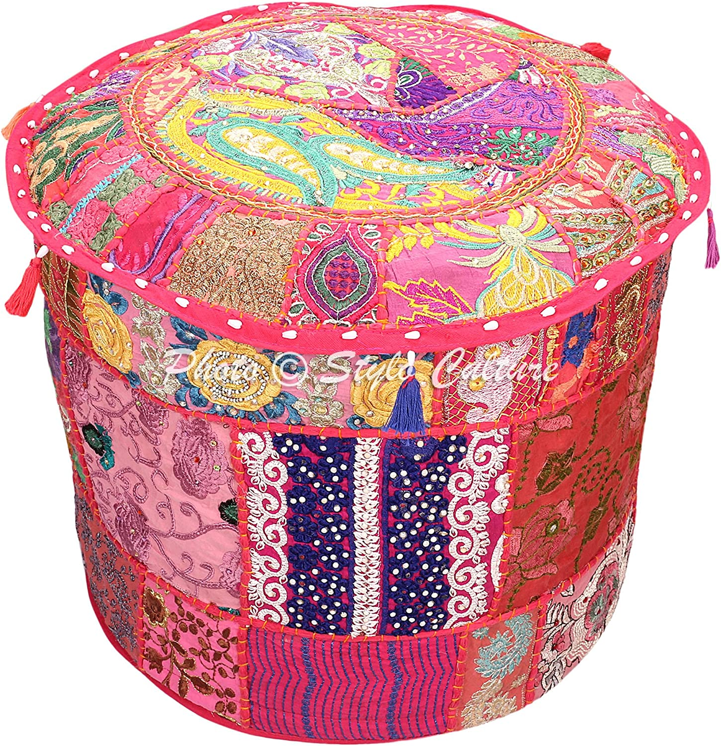 Stylo Culture Bohemian Round Sacramento Mail order cheap Mall Pouf Cover Indian Patchwork Ottoman