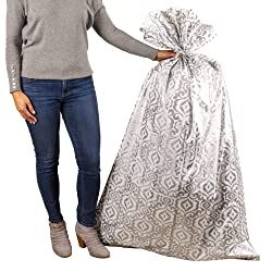 """Hallmark 56"""" Large Plastic Gift Bag (Silver Damask) for Engagement Parties, Bridal Showers, Weddings"""