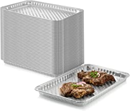 "24-Pack Disposable Aluminum Foil BBQ Grill Topper Pan – Prevents Food from Falling into the Grill or Sticking to the Grate – No Clean Up Required – Perfect for Camping and Outdoor Use - 15"" x10"" x1.5"""